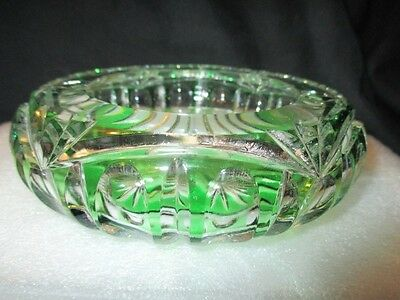 Emerald Green Cut To Clear Bohemian Webb Crystal Glass Low Potpourri Rose Bowl
