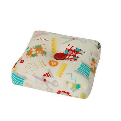Sew Much Fun' White Pincushion Square, Perfect for Small to Medium Sewing Tasks