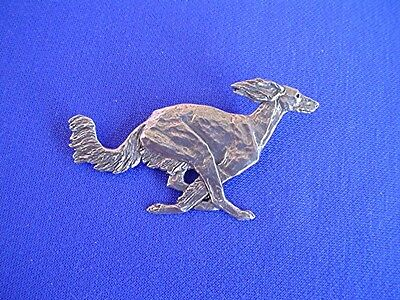 Feathered saluki Pewter pin Running #15E Dog Jewelry by Cindy A. Conter  cac