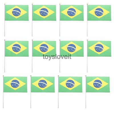 12pcs Brazil Hand Waving National Flags Brazilian Country Banners w/ Poles