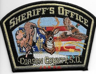 """Corson County Sheriff, SD (5"""" x 3.5"""" size) shoulder police patch (fire)"""