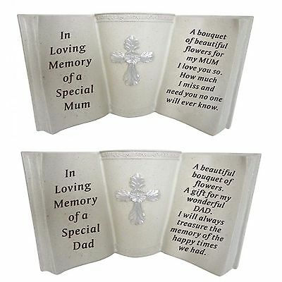 New Memorial Cross Flower Holder Pot Book Grave Sentimental Large Plaques Stones