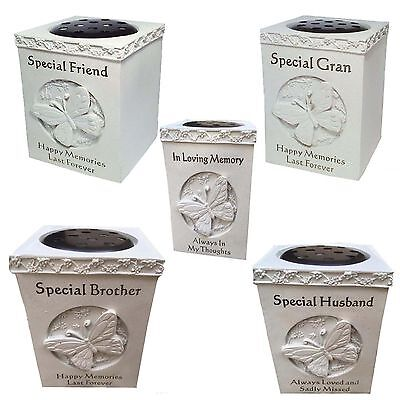 Butterfly Funeral Grave Stone Cemetery Flower Holder Pots Keepsake Tribute  Vase