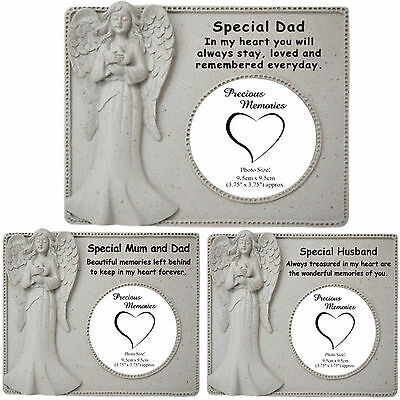 New Memorial Praying Angel Photo Frame Graveside Plaque Cemetery Stone Ornament