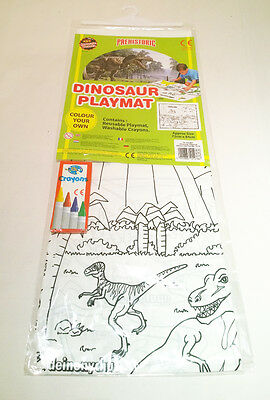 Dinosaur Playmat - Colour your own playmat with crayons - NEW