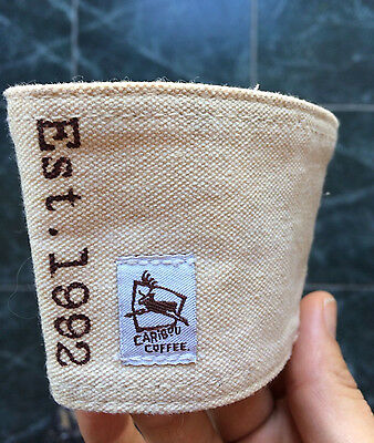 Natural Canvas Caribou Coffee Mug Sleeve Leather Detail with Ring for Attachment
