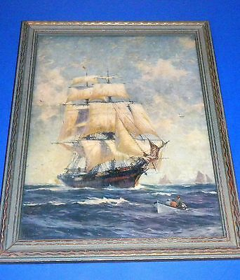 """Beautiful Vintage Tall Ship Print in 11 1/2"""" x 14 1/2"""" Period Frame"""