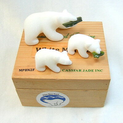 Polar Bear Family Hand Carved Ornament White Marble Green Jade Stone in Pine Box