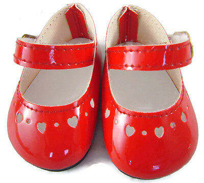 """For 18"""" American Girl Doll Clothes CHRISTMAS Red Patent Mary Jane Dress Shoes"""