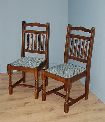 Pair of High Backed Dining Chairs - Turned Spindle Back Panel