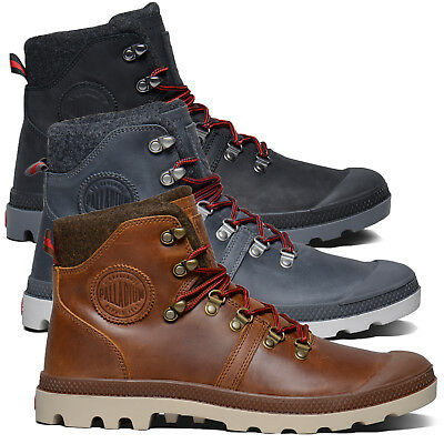 Palladium Men's Pallabrouse Hiker Boots Padded Leather Lace Up Hook Combat Shoe