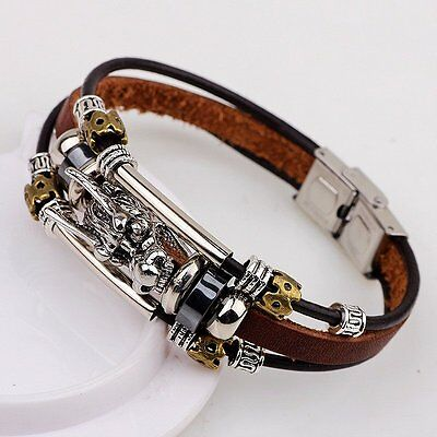 Men's Tibetan silver men leather bracelet fashion male vintage dragon Multilayer