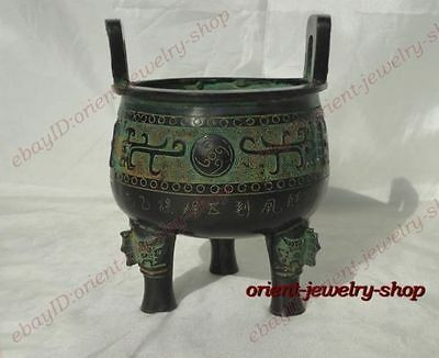Collection Archaic Patina Bronze Statues Tripod lucky Incense Burner /Censer