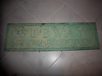 80 Lbs +/- 2 Sided Historical Bronze Nyc Subway Uptown Downtown Ny Station Sign