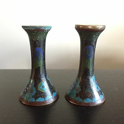Fine Old PAIR Chinese Cloisonne Beaker Vase Stands Mini Miniature Art NR