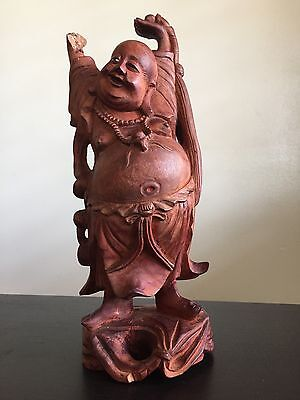 Fine Old LARGE Antique Chinese Carved Raised Hands Buddha Wood Art Inlaid NR
