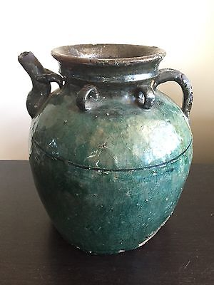 Fine Antique Chinese Ming Glazed Water Pot Vessel Handle Spout Ring Art WOW NR