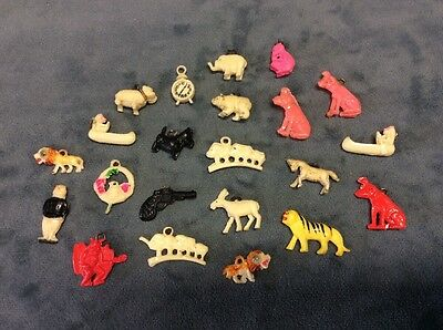 VINTAGE Celluloid MIXED LOT OF 22 Cracker Jack Gumball Toy Prize Charms