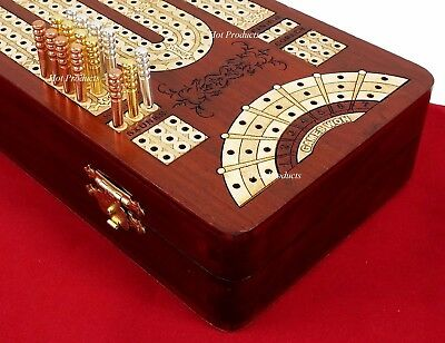 "13"" 3 TRACK CONTINUOUS Cribbage Board BLOODWOOD Skunks Corner Games Won Hinge Bx"