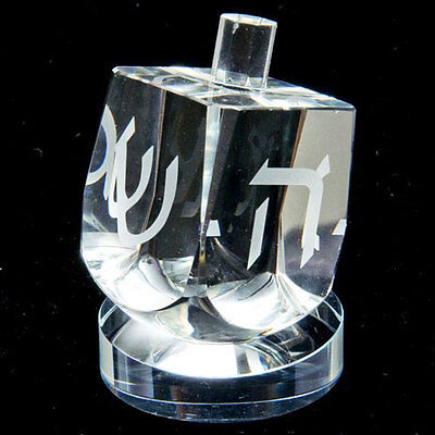 Crystal Dreidel with Stand - Jewish Judaica Chanukah Hanukkah Holiday Gift