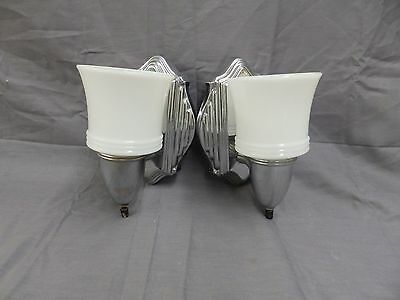 Vintage Chrome Brass Sconce Pr Old Milk Glass Shades Art Deco Fixtures 1808-16