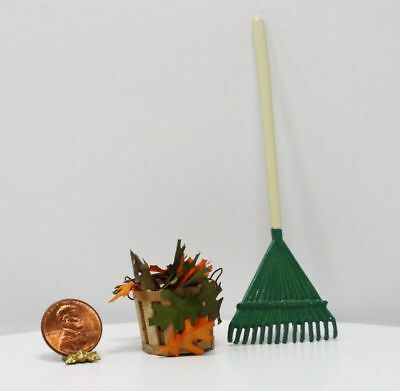 Dollhouse Miniature Artisan Basket of Autumn or Fall Leaves with a Garden Rake
