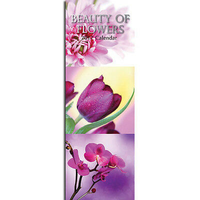Beauty of Flowers 2017 Slimline Wall Calendar NEW by Gifted Stationery