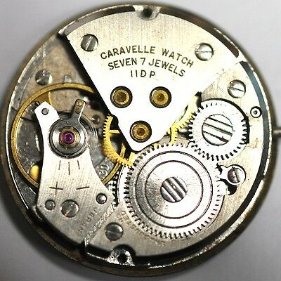 Caravelle Watch Movement 7 Jewels 11Dp Runs For Parts/repairs #559