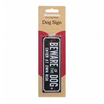 "Rose Wood Dog Sign ""beware Of The Dog Enter At Own Risk"" Gate Door Garden 24033"