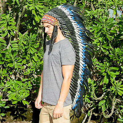 Extra Long Native American Inspired Headdress - ADJUSTABLE - DOUBLE FEATHER Blue