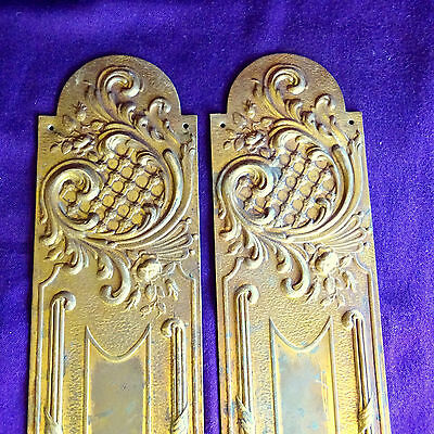 Vintage 2 Touch Plates Door Art Nouveau Hardware French Finger Backlates Antique
