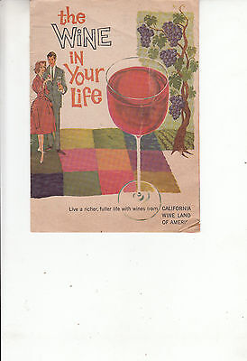 1950s Wine and Cheese Brochures - The Wine in Your Life - Wine Cooking Chart +