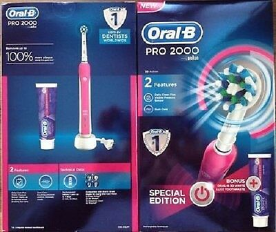 Oral B Pro 2000 Pink Electric Toothbrush with 3D White Toothpaste - 3D Action