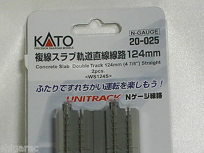 Kato n scale Unitrack Concrete Slab Double Track 124mm Straight 2pcs 20-025