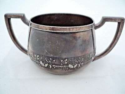 """Vintage Silverplate Double Handle Sugar Bowl Victor S.p. Co. 1144  2-1/4""""x5-1/8"""""""