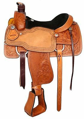 "17"" Circle S Roping Saddle W/ Basket Weave and Floral Tooling! Roping Warranty!"