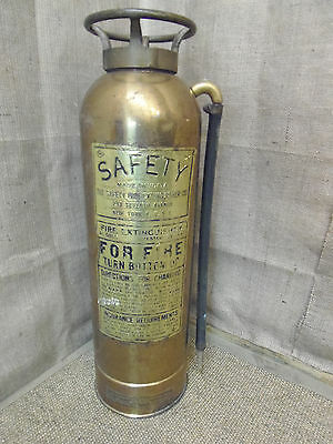 Vintage Brass Fire Extinguisher, upright, American, Safety Company, with hose