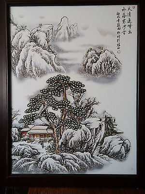 Old Chinese Handpainted Porcelain Tile Plaque With Winter Landscape Scene