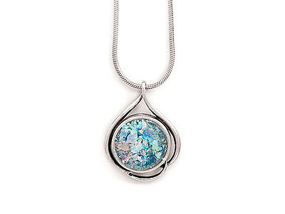 925 Sterling Silver 18 in Ancient Roman Glass Necklace