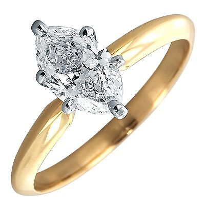 2 Ct Marquise Solitaire Engagement Wedding Promise Ring Real 14K Yellow Gold