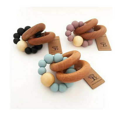Nature Bubz Luna Teething Rattle | Beech Rings and Silicone Beads | Baby Gift