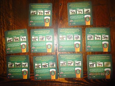 complete set of 10 JAMES BOAGS  MELBOURNE CUP HORSES beer,collectable COASTERS
