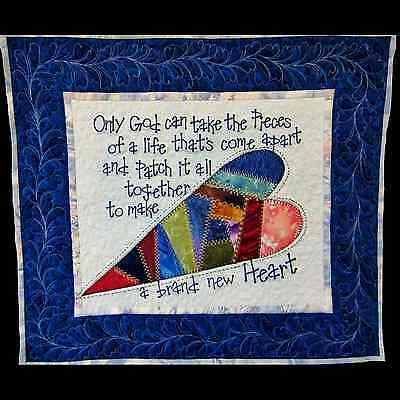 "Quilted Wall Hanging / Table Mat w/Words of Comfort 18"" x 21"" Blue Vers _AL-084"