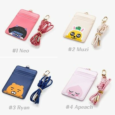 Kakao Friends Leather Carder Holder Neck Strap ID Credit Card Case Wallet Ryan
