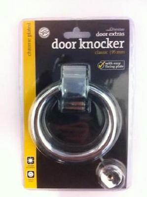 Door Knocker Chrome Plated 95Mm Ring Style With Fixing Plate And Screws