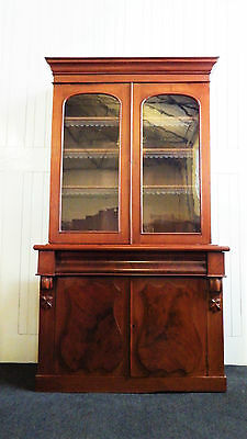 Antique mahogany glazed double cupboard bookcase / display cabinet