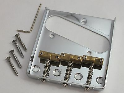 CHROME TELE ASH TRAY BRIDGE 3 Compensated BRASS Saddles for Telecaster guitars