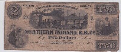Northern Indiana R.r. Co. Crawfordsville-Loganport Two Dollar Note 1859