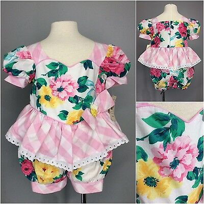 Sweetheart Romper Shabby Roses Check All Cotton Bubble Bottom Flounced NOS NWT 2