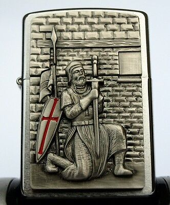 Zippo Lighter - Knights Templar CRUSADER WITH SWORD Masonic Templer ZIPPOS zipo